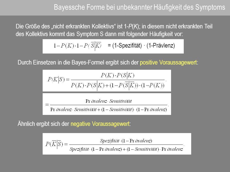 Bayessche Forme bei unbekannter Häufigkeit des Symptoms Die Größe des nicht erkrankten Kollektivs ist 1- P ( K ); in diesem nicht erkrankten Teil des