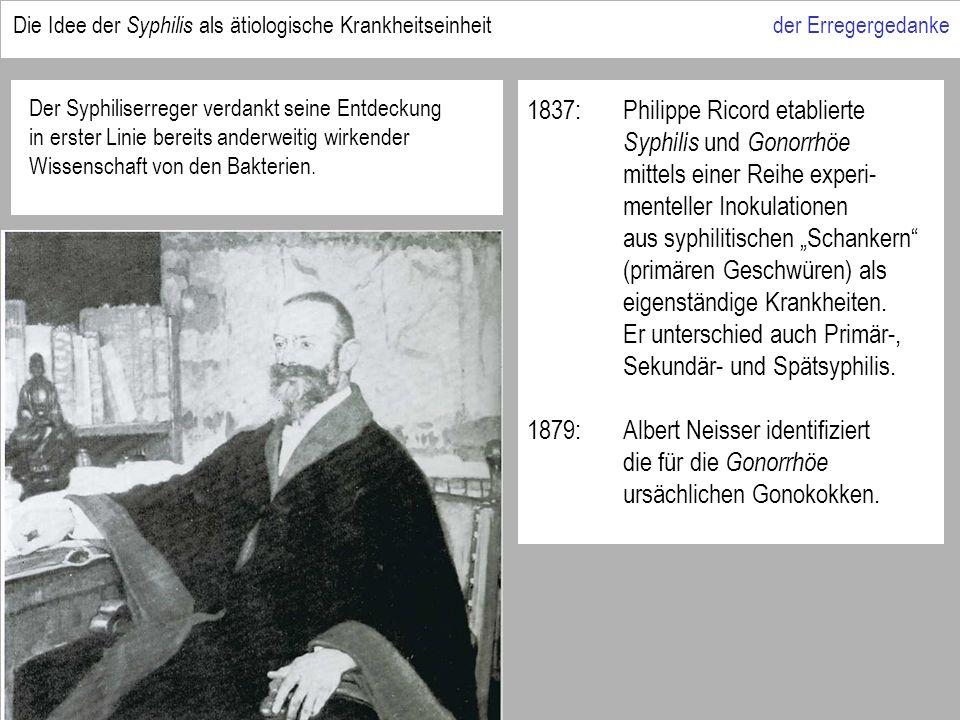 1837:Philippe Ricord etablierte Syphilis und Gonorrhöe mittels einer Reihe experi- menteller Inokulationen aus syphilitischen Schankern (primären Geschwüren) als eigenständige Krankheiten.