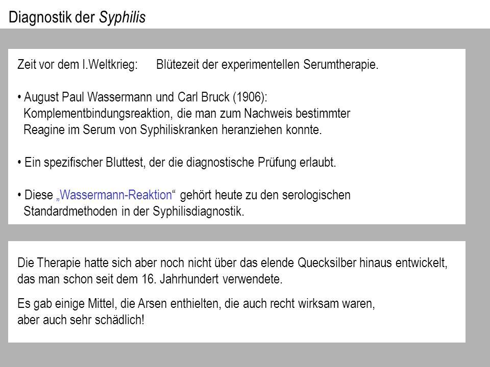 Diagnostik der Syphilis Zeit vor dem I.Weltkrieg: Blütezeit der experimentellen Serumtherapie.