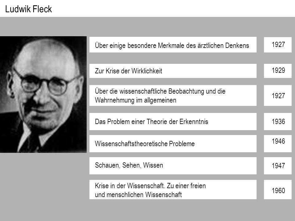Ludwik Fleck Über einige besondere Merkmale des ärztlichen Denkens Zur Krise der Wirklichkeit Das Problem einer Theorie der Erkenntnis Wissenschaftstheoretische Probleme Schauen, Sehen, Wissen Krise in der Wissenschaft.