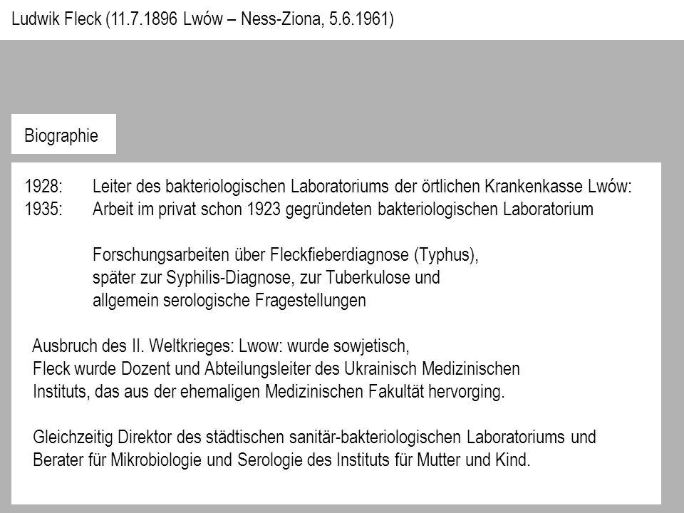 1928:Leiter des bakteriologischen Laboratoriums der örtlichen Krankenkasse Lwów: 1935:Arbeit im privat schon 1923 gegründeten bakteriologischen Laboratorium Forschungsarbeiten über Fleckfieberdiagnose (Typhus), später zur Syphilis-Diagnose, zur Tuberkulose und allgemein serologische Fragestellungen Ausbruch des II.