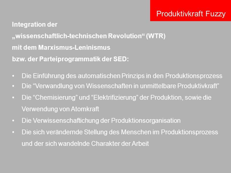 Die Einführung des automatischen Prinzips in den Produktionsprozess Die Verwandlung von Wissenschaften in unmittelbare Produktivkraft Die Chemisierung