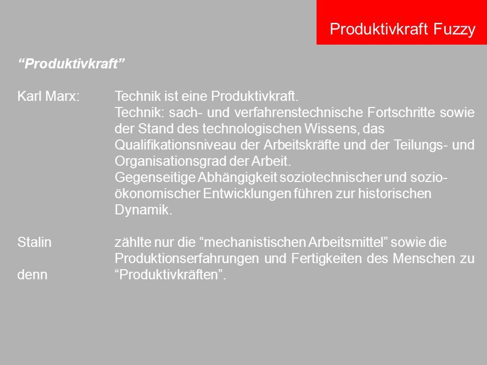 Produktivkraft Karl Marx:Technik ist eine Produktivkraft. Technik: sach- und verfahrenstechnische Fortschritte sowie der Stand des technologischen Wis