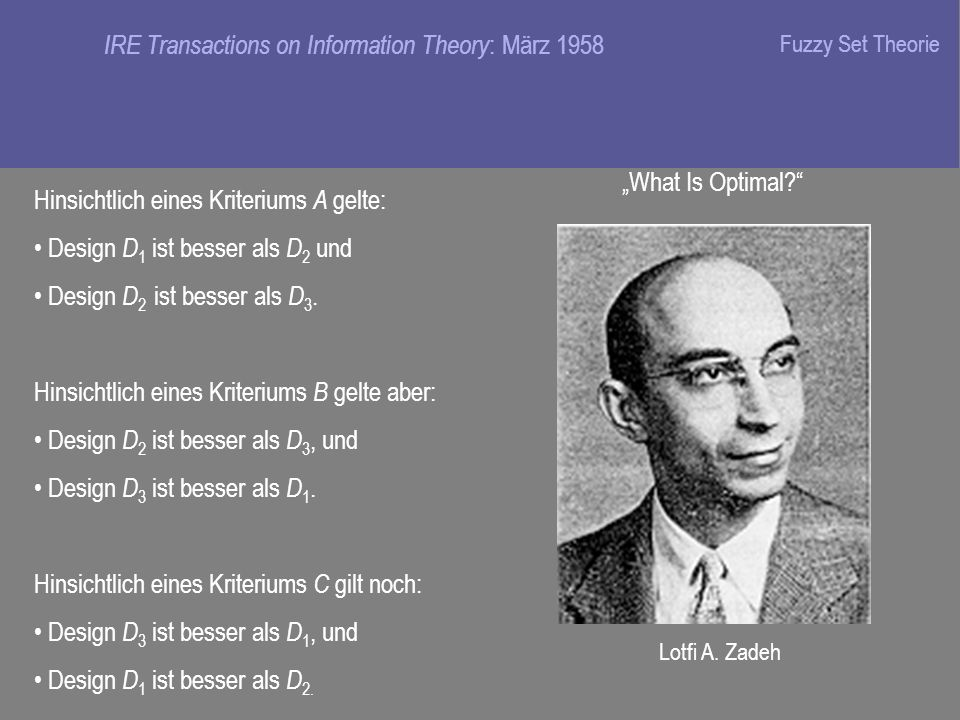 IRE Transactions on Information Theory : März 1958 What Is Optimal.