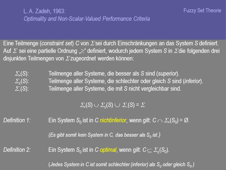 Eine Teilmenge ( constraint set ) C von sei durch Einschränkungen an das System S definiert.