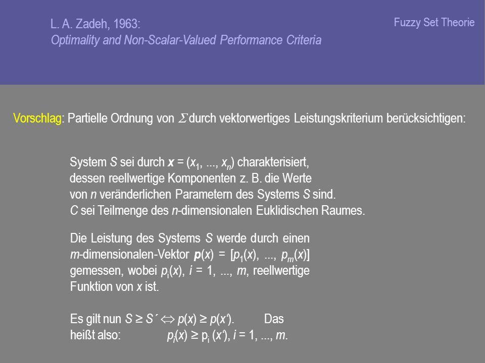 Vorschlag: Partielle Ordnung von durch vektorwertiges Leistungskriterium berücksichtigen: System S sei durch x = ( x 1,..., x n ) charakterisiert, dessen reellwertige Komponenten z.
