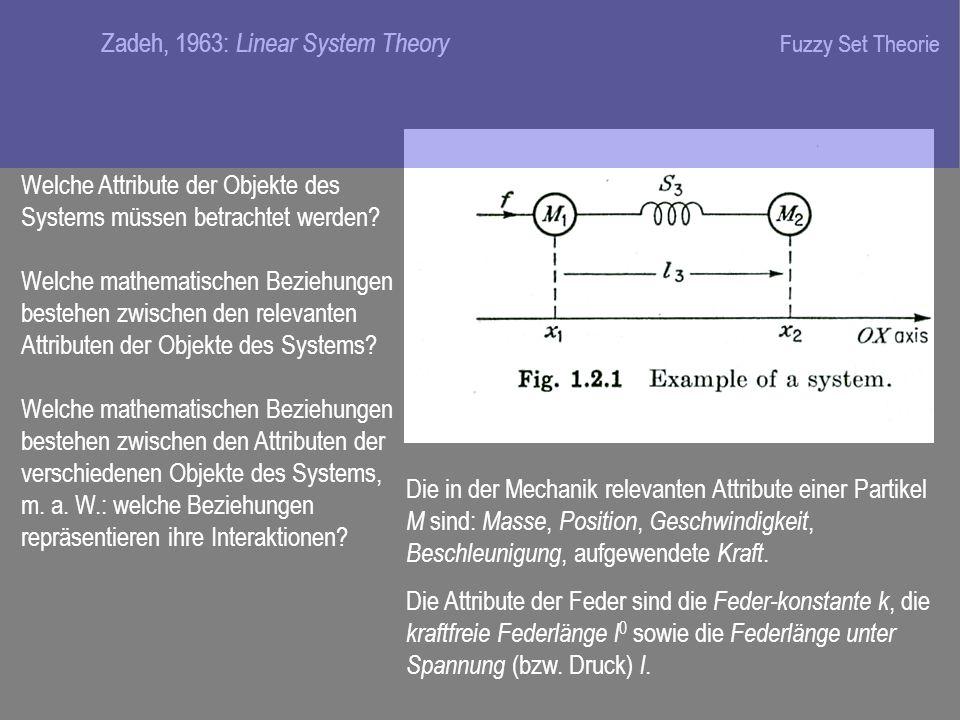 Zadeh, 1963: Linear System Theory Welche Attribute der Objekte des Systems müssen betrachtet werden.