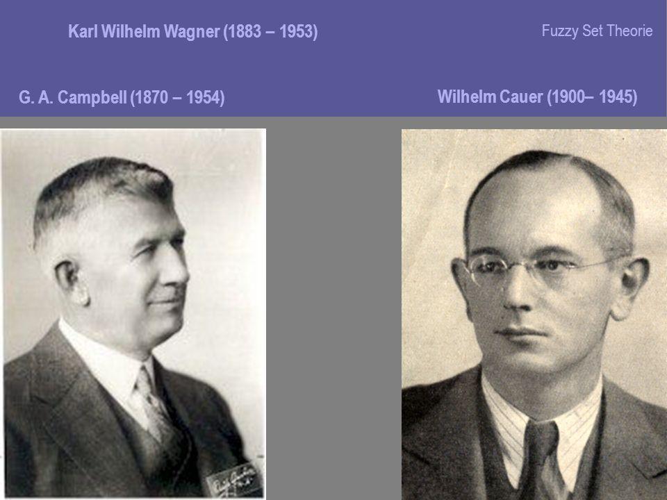 G. A. Campbell (1870 – 1954) Karl Wilhelm Wagner (1883 – 1953) Wilhelm Cauer (1900– 1945) Fuzzy Set Theorie