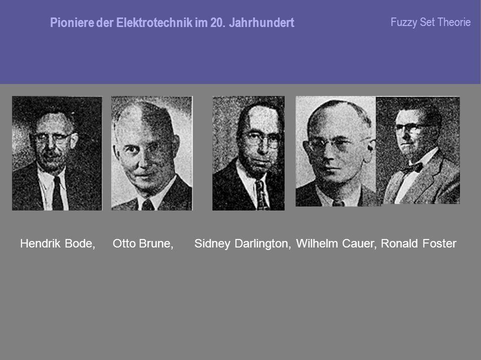 Hendrik Bode, Otto Brune, Sidney Darlington, Wilhelm Cauer, Ronald Foster Pioniere der Elektrotechnik im 20.