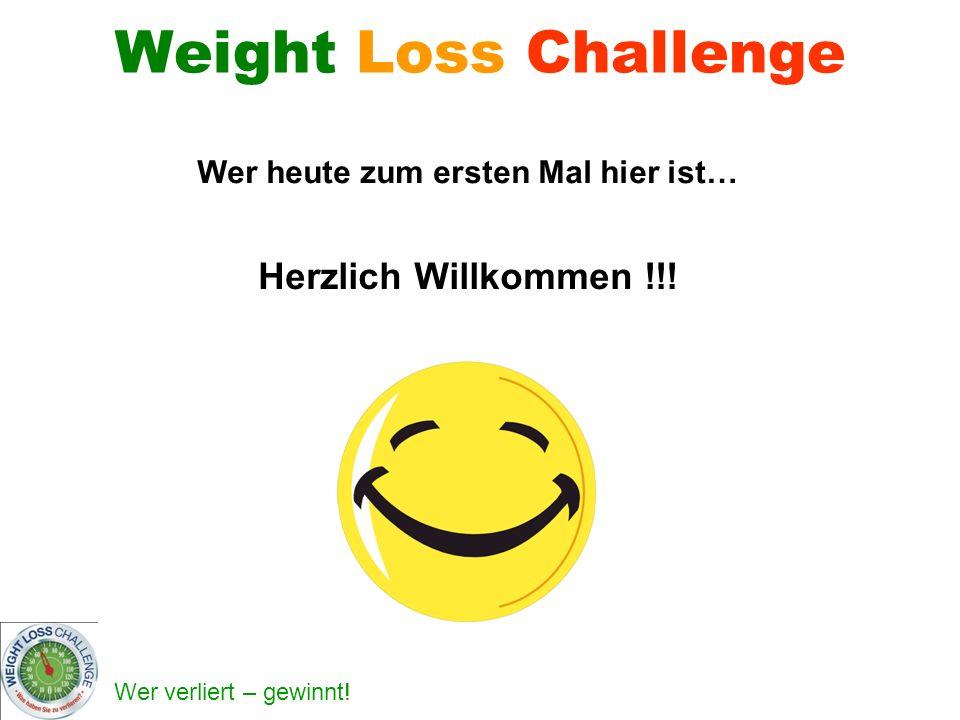 Weight Loss Challenge Wer heute zum ersten Mal hier ist… Herzlich Willkommen !!!