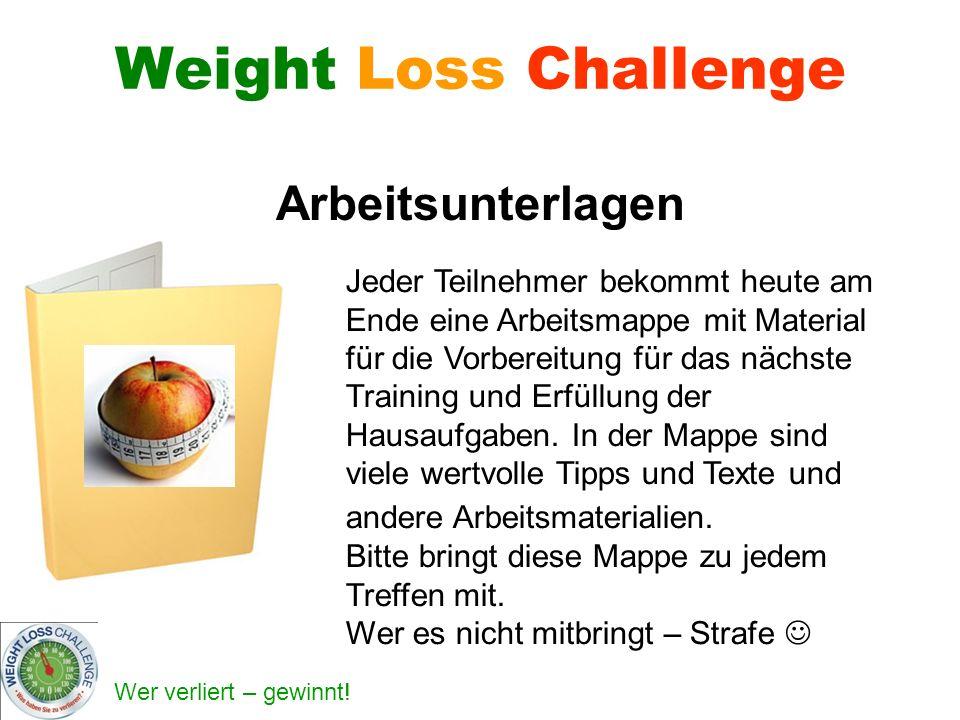 Weight Loss Challenge Arbeitsunterlagen Jeder Teilnehmer bekommt heute am Ende eine Arbeitsmappe mit Material für die Vorbereitung für das nächste Training und Erfüllung der Hausaufgaben.