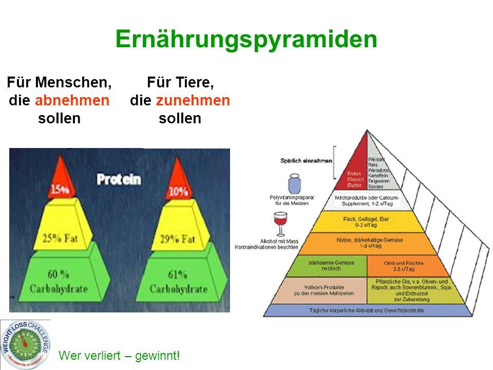 Wer verliert – gewinnt! Ernährungspyramiden Für Menschen, die abnehmen sollen Für Tiere, die zunehmen sollen
