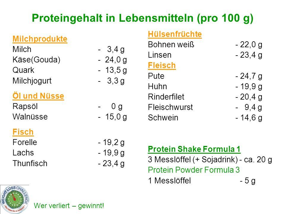 Wer verliert – gewinnt! Milchprodukte Milch - 3,4 g Käse(Gouda) - 24,0 g Quark - 13,5 g Milchjogurt - 3,3 g Öl und Nüsse Rapsöl - 0 g Walnüsse - 15,0