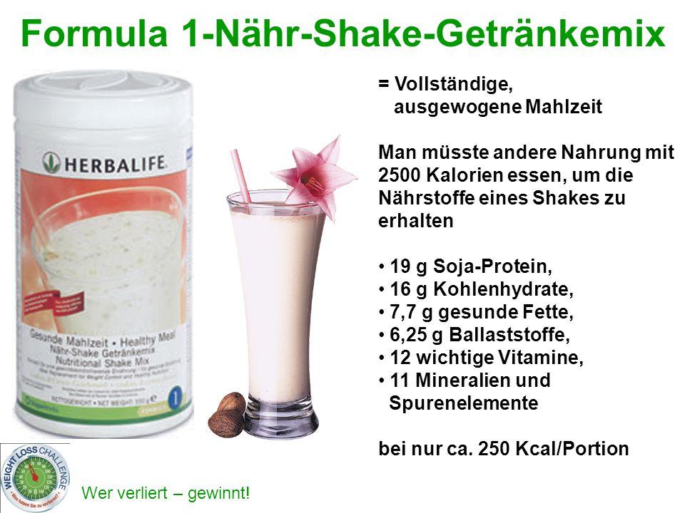Wer verliert – gewinnt! Formula 1-Nähr-Shake-Getränkemix = Vollständige, ausgewogene Mahlzeit Man müsste andere Nahrung mit 2500 Kalorien essen, um di
