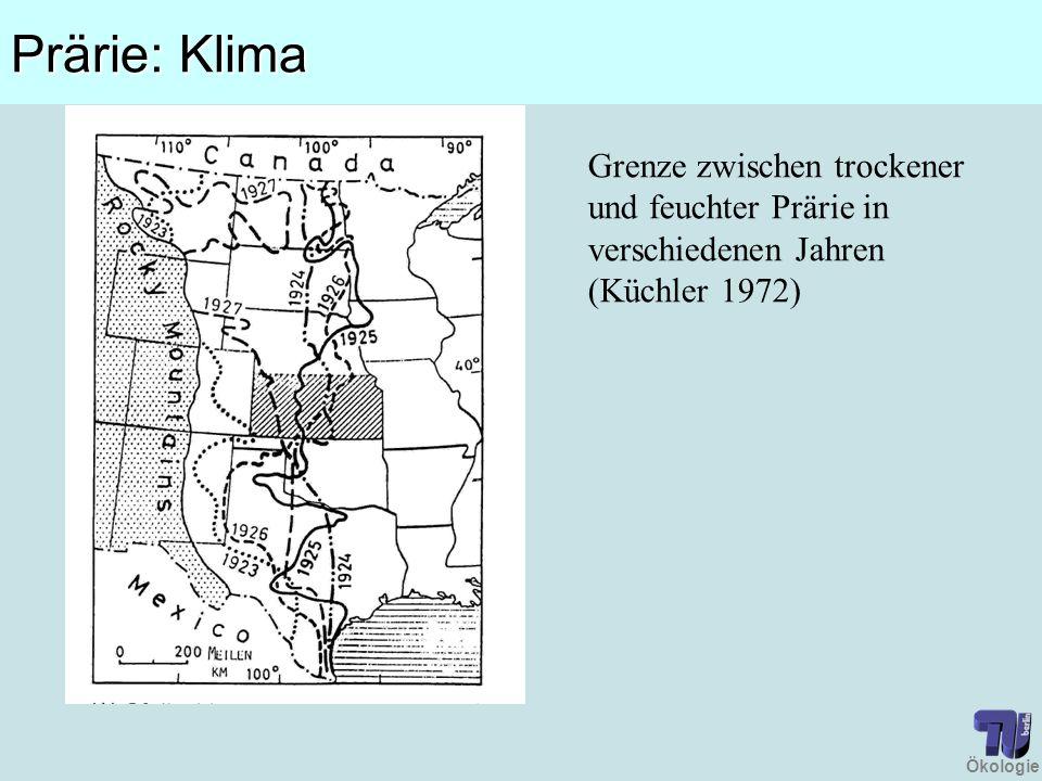 Ökologie Prärie: Klima Grenze zwischen trockener und feuchter Prärie in verschiedenen Jahren (Küchler 1972)
