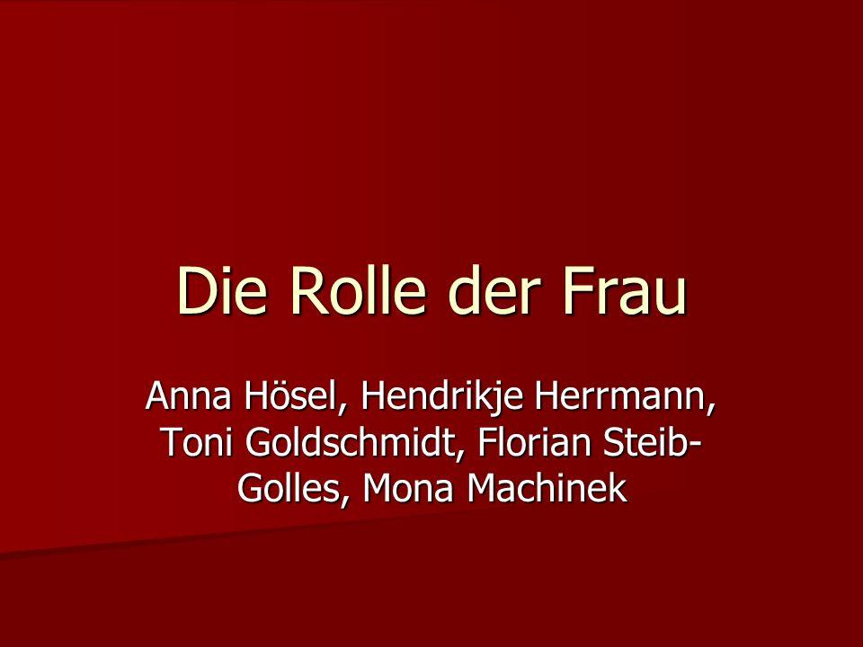 Die Rolle der Frau Gliederung Gliederung Die heutige Rolle der Frau Die heutige Rolle der Frau - Aus der Sicht des Mannes - Aus der Sicht der Frau Die Rolle der Frau in der DDR/BRD Die Rolle der Frau in der DDR/BRD Fazit Fazit