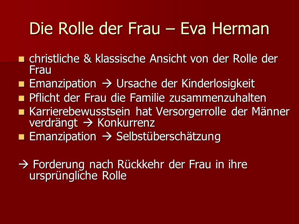 Die Rolle der Frau – Eva Herman christliche & klassische Ansicht von der Rolle der Frau christliche & klassische Ansicht von der Rolle der Frau Emanzi