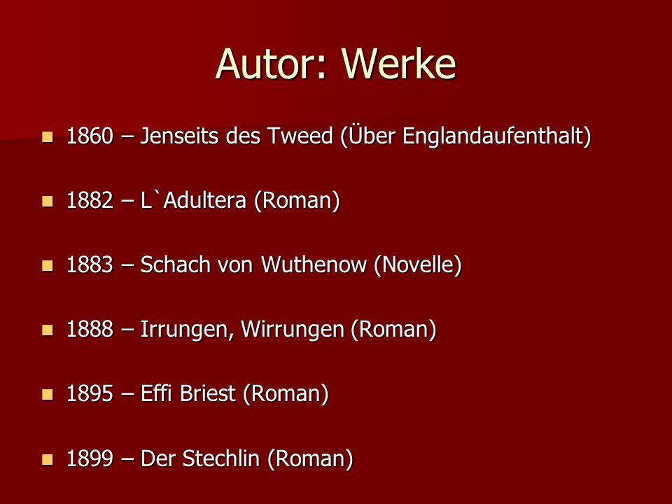 Autor: Werke 1860 – Jenseits des Tweed (Über Englandaufenthalt) 1860 – Jenseits des Tweed (Über Englandaufenthalt) 1882 – L`Adultera (Roman) 1882 – L`