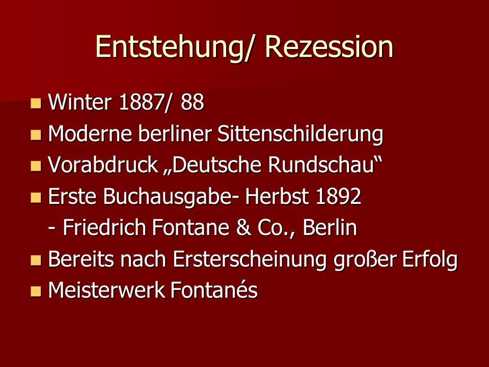 Entstehung/ Rezession Winter 1887/ 88 Winter 1887/ 88 Moderne berliner Sittenschilderung Moderne berliner Sittenschilderung Vorabdruck Deutsche Rundsc