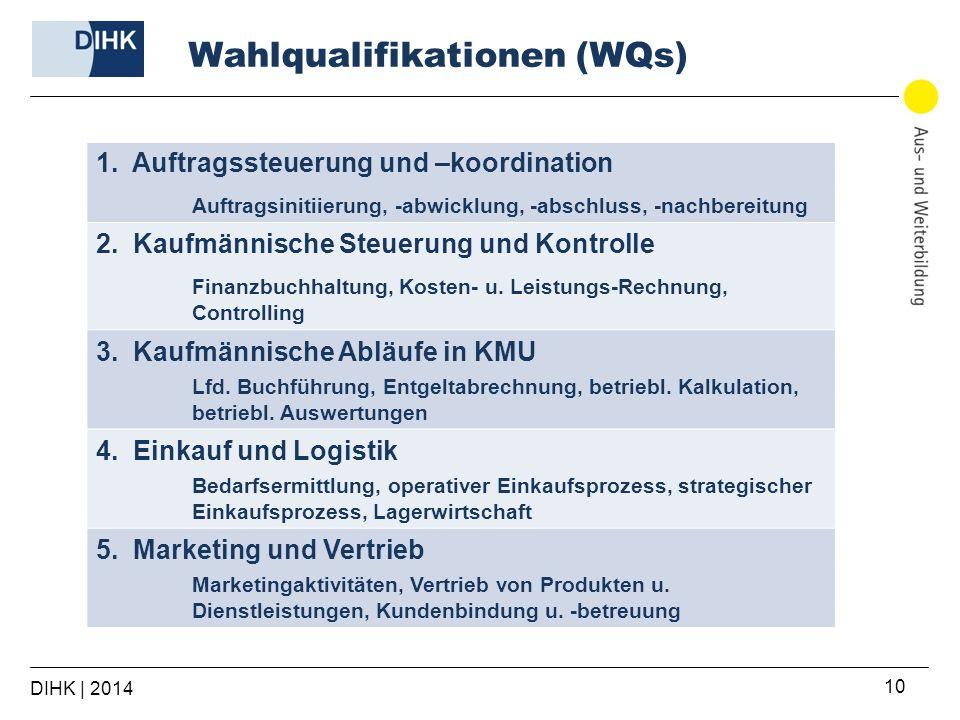 Wahlqualifikationen (WQs) DIHK | 2014 10 1. Auftragssteuerung und –koordination Auftragsinitiierung, -abwicklung, -abschluss, -nachbereitung 2. Kaufmä