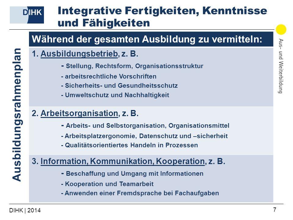 DIHK | 2014 7 Während der gesamten Ausbildung zu vermitteln: 1. Ausbildungsbetrieb, z. B. - Stellung, Rechtsform, Organisationsstruktur - arbeitsrecht