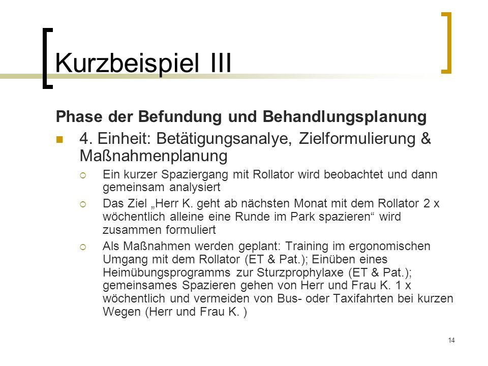 14 Kurzbeispiel III Phase der Befundung und Behandlungsplanung 4. Einheit: Betätigungsanalye, Zielformulierung & Maßnahmenplanung Ein kurzer Spazierga