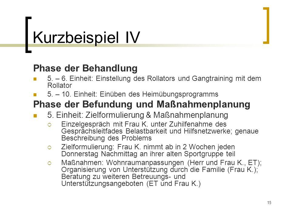 15 Kurzbeispiel IV Phase der Behandlung 5. – 6. Einheit: Einstellung des Rollators und Gangtraining mit dem Rollator 5. – 10. Einheit: Einüben des Hei