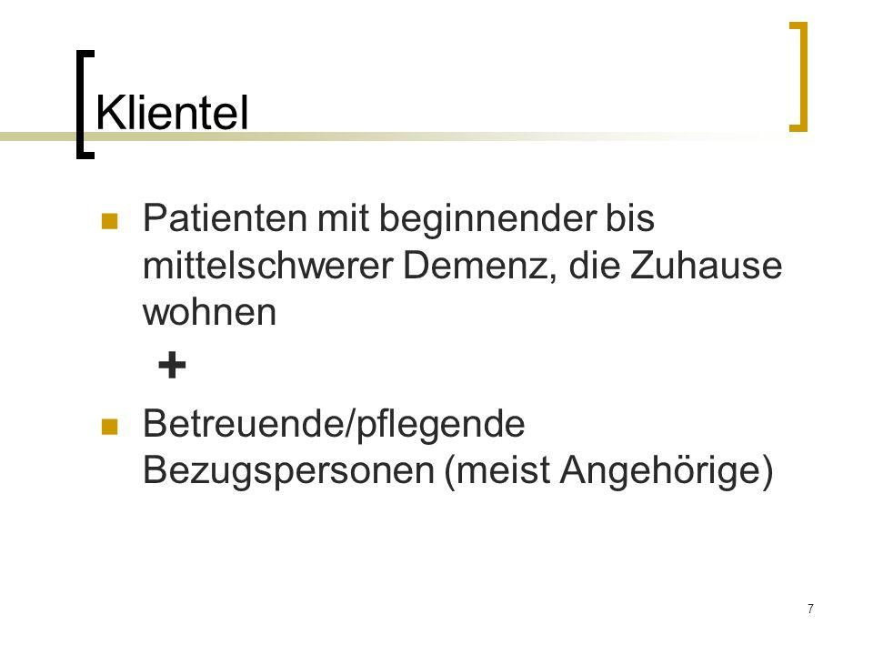 7 Klientel Patienten mit beginnender bis mittelschwerer Demenz, die Zuhause wohnen Betreuende/pflegende Bezugspersonen (meist Angehörige) +