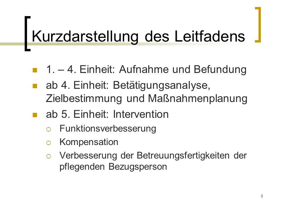 9 Kurzdarstellung des Leitfadens 1. – 4. Einheit: Aufnahme und Befundung ab 4. Einheit: Betätigungsanalyse, Zielbestimmung und Maßnahmenplanung ab 5.