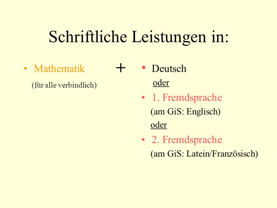 Schriftliche Leistungen in: Mathematik (für alle verbindlich) Deutsch oder 1. Fremdsprache (am GiS: Englisch) oder 2. Fremdsprache (am GiS: Latein/Fra