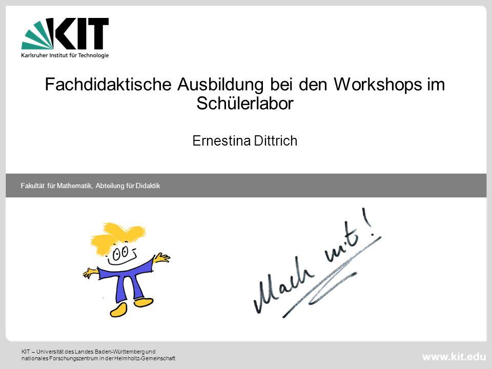 KIT – Universität des Landes Baden-Württemberg und nationales Forschungszentrum in der Helmholtz-Gemeinschaft Fakultät für Mathematik, Abteilung für D