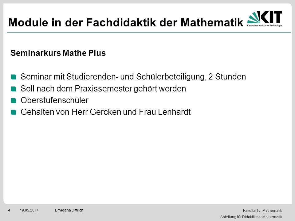 Fakultät für Mathematik Abteilung für Didaktik der Mathematik 419.05.2014Ernestina Dittrich Module in der Fachdidaktik der Mathematik Seminarkurs Math