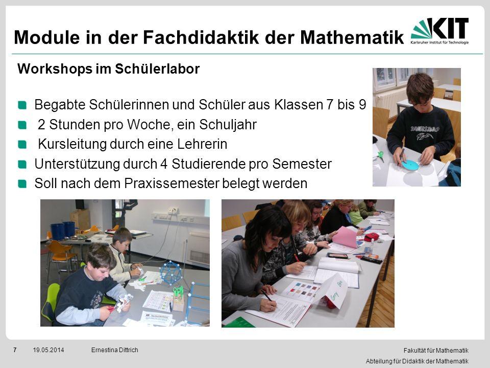 Fakultät für Mathematik Abteilung für Didaktik der Mathematik 719.05.2014Ernestina Dittrich Module in der Fachdidaktik der Mathematik Workshops im Sch