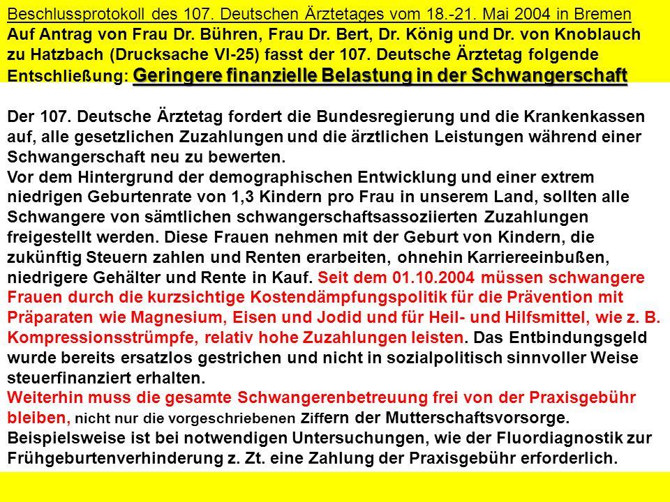 Der 107. Deutsche Ärztetag fordert die Bundesregierung und die Krankenkassen auf, alle gesetzlichen Zuzahlungen und die ärztlichen Leistungen während
