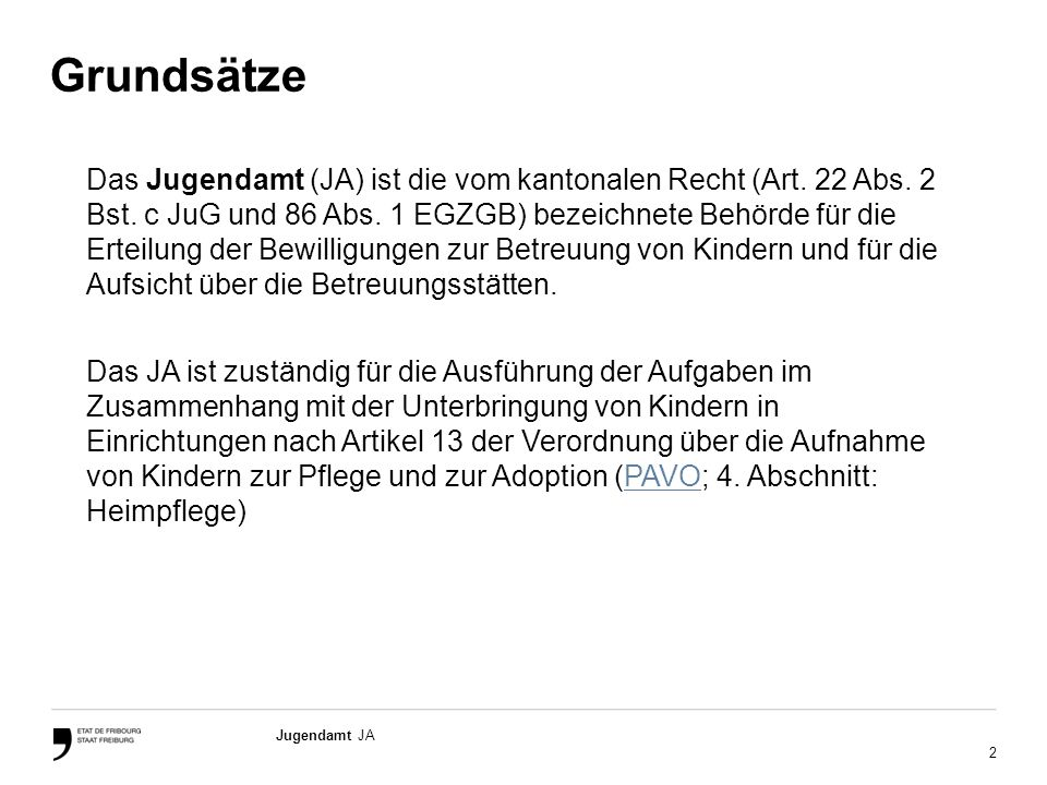 3 Jugendamt JA Rechtlicher Rahmen Das Gesetz vom 9.