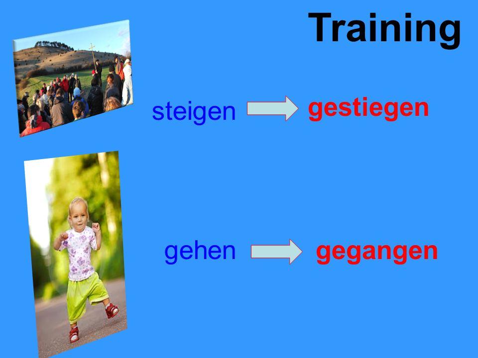 Training steigen gestiegen gehengegangen