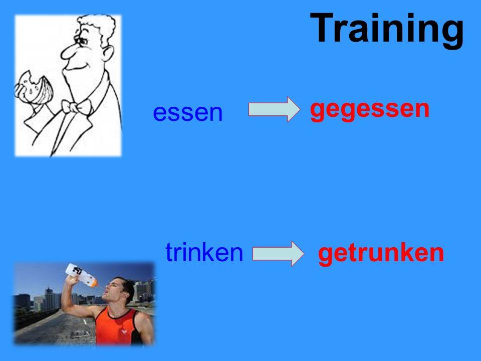 Training essen gegessen trinkengetrunken