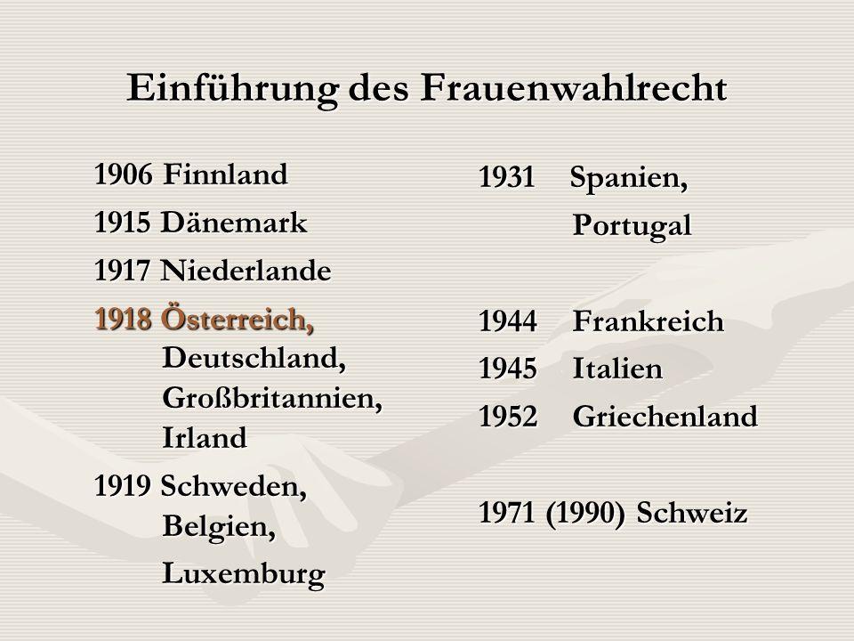Einführung des Frauenwahlrecht 1906 Finnland 1915 Dänemark 1917 Niederlande 1918 Österreich, Deutschland, Großbritannien, Irland 1919 Schweden, Belgie