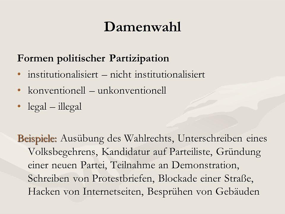 Damenwahl Formen politischer Partizipation institutionalisiert – nicht institutionalisiertinstitutionalisiert – nicht institutionalisiert konventionel