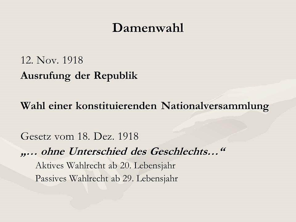 Damenwahl 12. Nov. 1918 Ausrufung der Republik Wahl einer konstituierenden Nationalversammlung Gesetz vom 18. Dez. 1918 … ohne Unterschied des Geschle