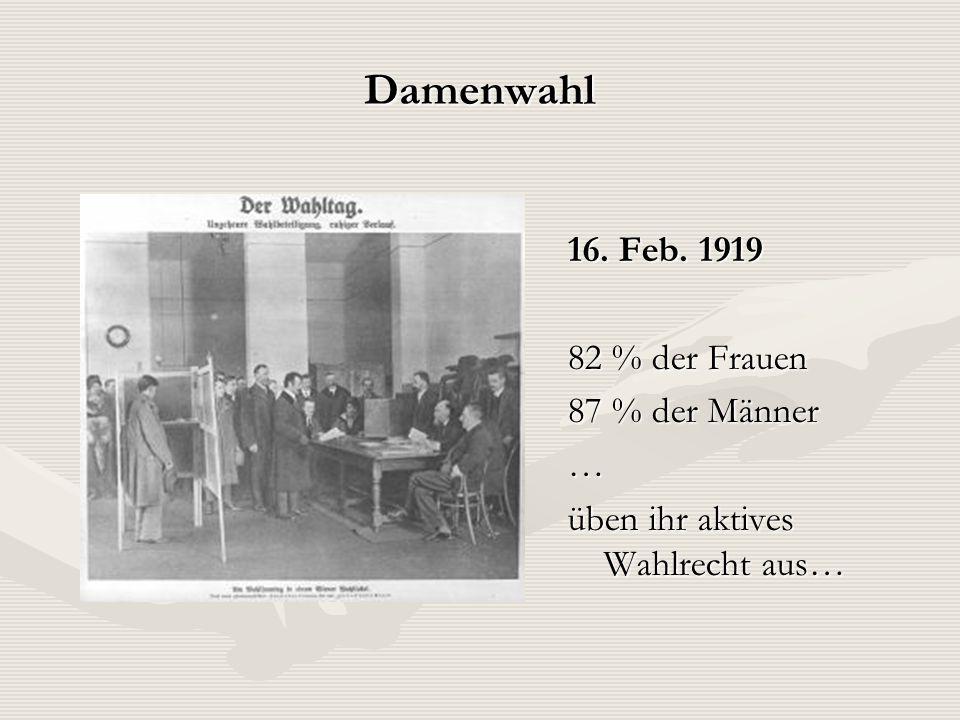 Damenwahl 16. Feb. 1919 82 % der Frauen 87 % der Männer … üben ihr aktives Wahlrecht aus…