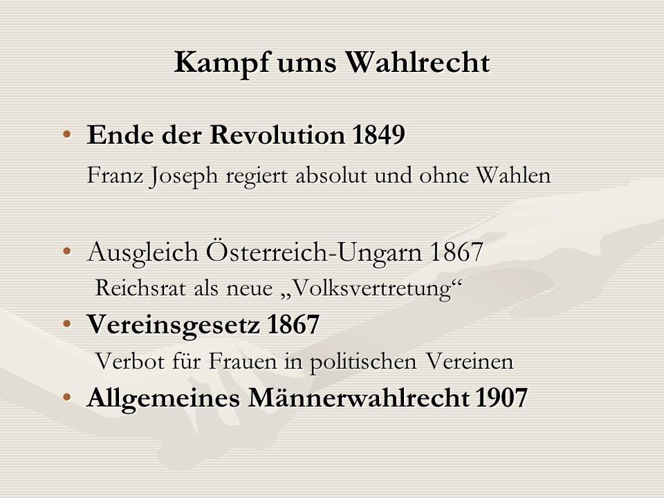 Kampf ums Wahlrecht Ende der Revolution 1849Ende der Revolution 1849 Franz Joseph regiert absolut und ohne Wahlen Ausgleich Österreich-Ungarn 1867Ausg