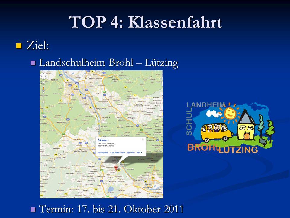 TOP 4: Klassenfahrt Ziel: Ziel: Landschulheim Brohl – Lützing Landschulheim Brohl – Lützing Termin: 17. bis 21. Oktober 2011 Termin: 17. bis 21. Oktob