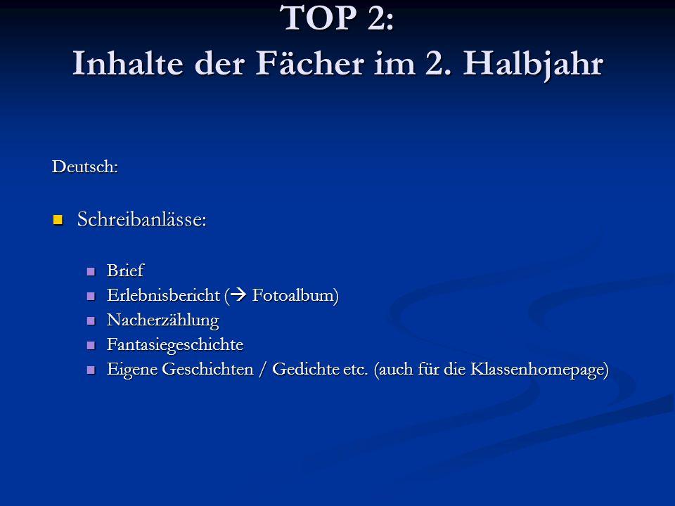 TOP 2: Inhalte der Fächer im 2. Halbjahr Deutsch: Schreibanlässe: Schreibanlässe: Brief Brief Erlebnisbericht ( Fotoalbum) Erlebnisbericht ( Fotoalbum