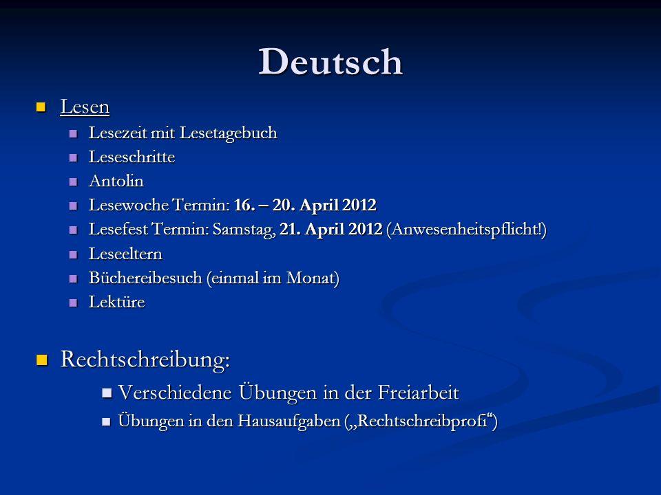 Deutsch Lesen Lesen Lesezeit mit Lesetagebuch Lesezeit mit Lesetagebuch Leseschritte Leseschritte Antolin Antolin Lesewoche Termin: 16. – 20. April 20