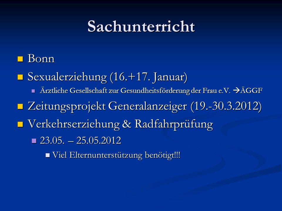 Sachunterricht Bonn Bonn Sexualerziehung (16.+17. Januar) Sexualerziehung (16.+17. Januar) Ärztliche Gesellschaft zur Gesundheitsförderung der Frau e.