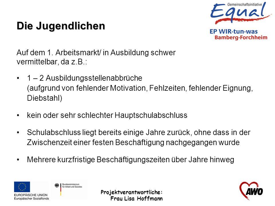 Projektverantwortliche: Frau Lisa Hoffmann Die Jugendlichen Auf dem 1. Arbeitsmarkt/ in Ausbildung schwer vermittelbar, da z.B.: 1 – 2 Ausbildungsstel