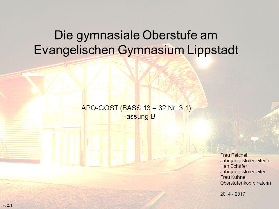 Die gymnasiale Oberstufe am Evangelischen Gymnasium Lippstadt APO-GOST (BASS 13 – 32 Nr. 3.1) Fassung B Frau Reichel Jahrgangsstufenleiterin Herr Schä
