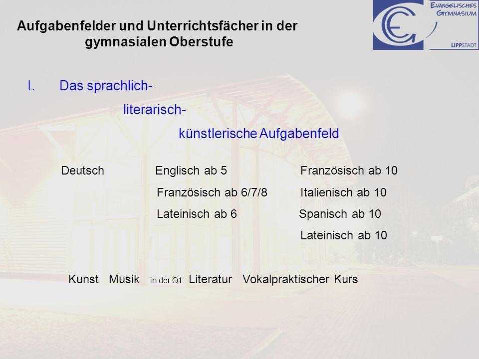 Aufgabenfelder und Unterrichtsfächer in der gymnasialen Oberstufe I.Das sprachlich- literarisch- künstlerische Aufgabenfeld Deutsch Englisch ab 5Franz