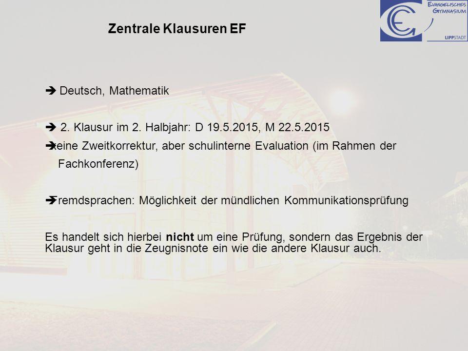 Deutsch, Mathematik 2. Klausur im 2. Halbjahr: D 19.5.2015, M 22.5.2015 keine Zweitkorrektur, aber schulinterne Evaluation (im Rahmen der Fachkonferen